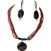 Starry Sky necklace set, Jasper cabochon, with multi-strand vintage coral necklace, matching earrings