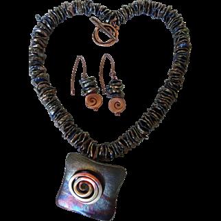 Raku-fired Pendant and earring set, with iridescent Keshi pearls