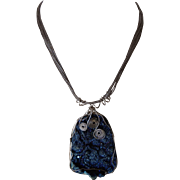 Spectacular Royal Blue sparkling Drusy wire wrapped pendant, with multi-strand sterling necklace
