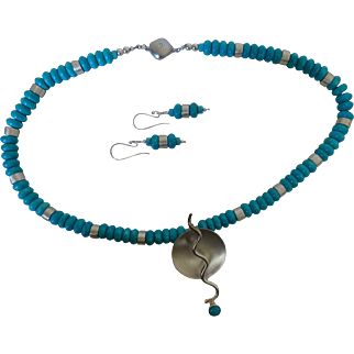 Contemporary Turquoise and silver Taxco necklace with matching earrings