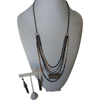 Mixed metals necklace with woven sterling silver pendant, matching earrings
