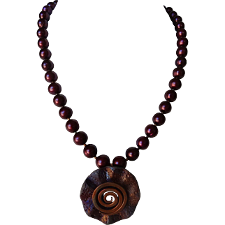 Raku-fired purple Pendant, with burgundy Swarovski pearls