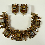 Juliana Bracelet and Earring Set ~ Root Beer Art Glass ~ Citrine & Topaz Rhinestones