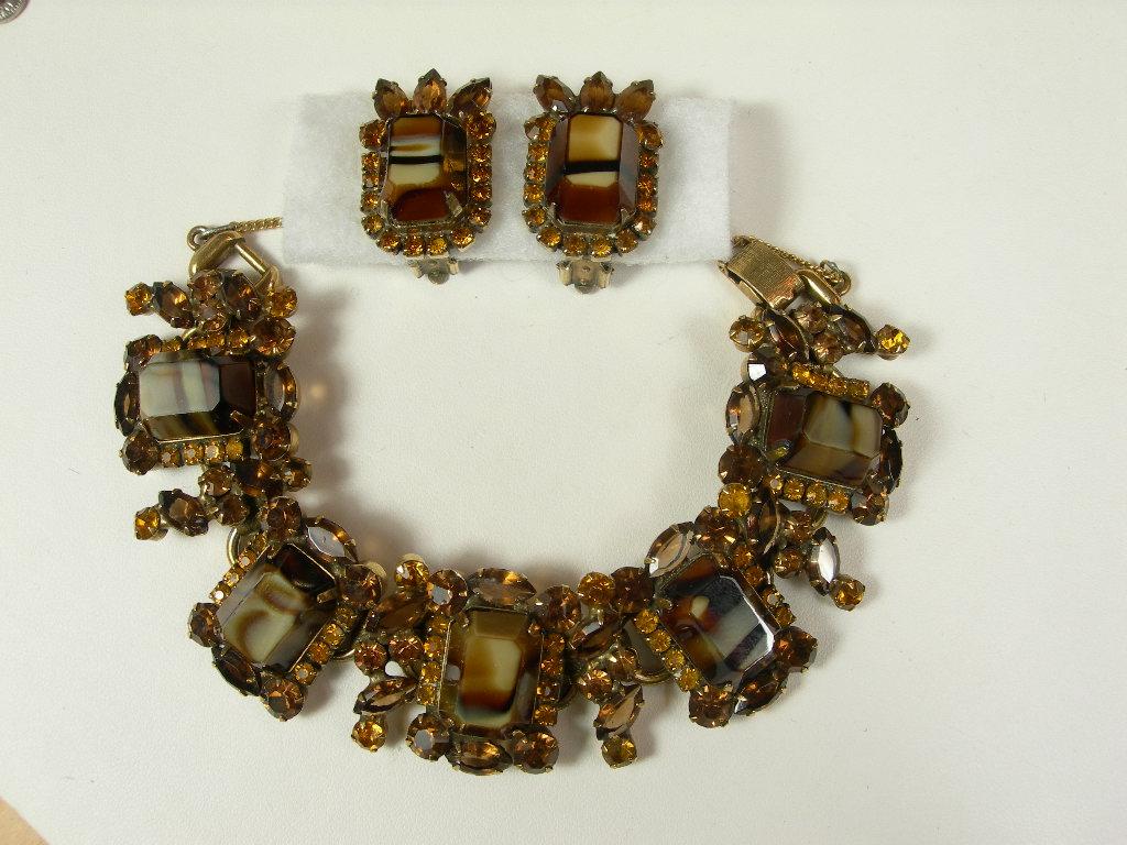 Juliana Bracelet and Earring Set ~ Root Beer Art Glass ~ Citrine & Topaz Rhinestones