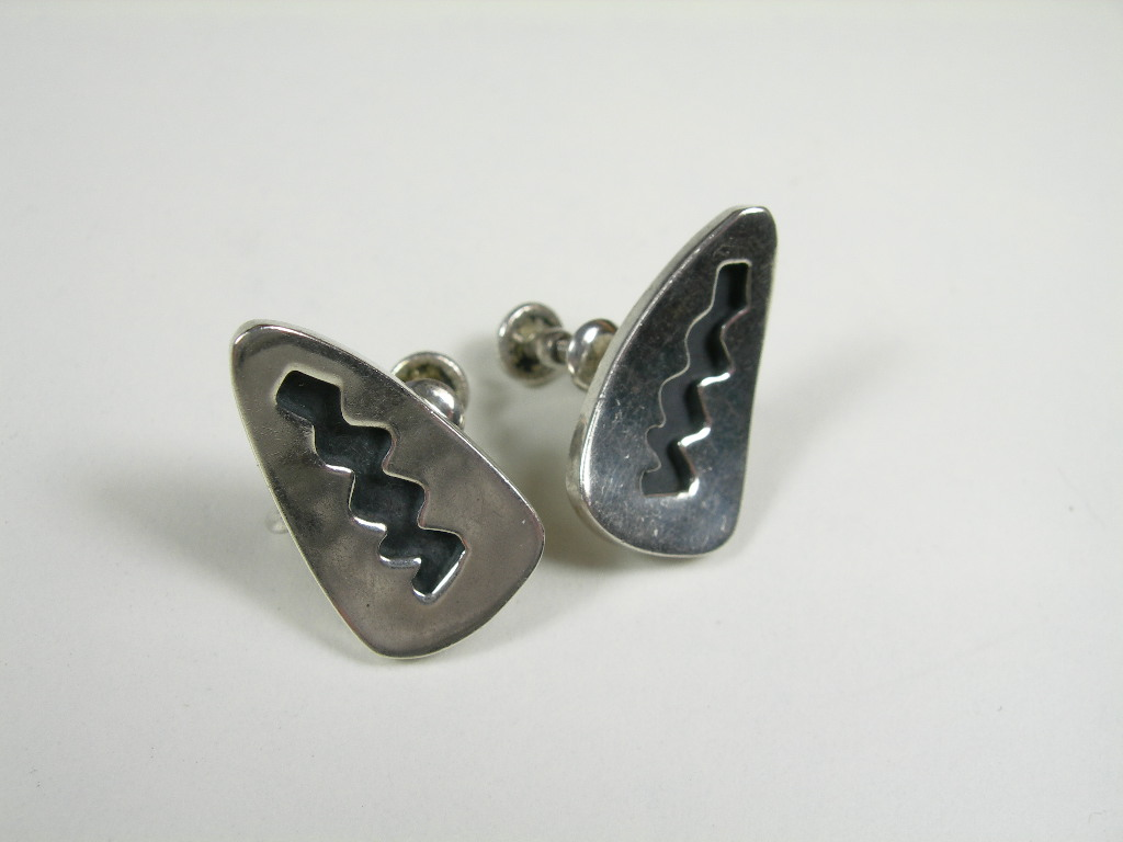 Esther Lewittes ~ Mid Century Modernist ~ Sterling Silver ~ Screw on Earrings