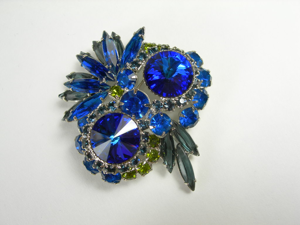 Juliana ~ Delizza & Elster ~ Electric Blue Rivoli ~ Owl Pin Brooch ~ Book Piece