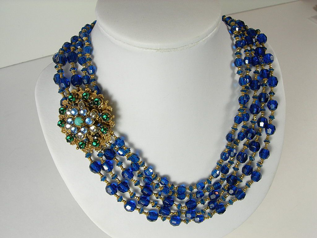 Miriam Haskell ~ Cobalt Blue ~ 5 Strand Faceted Crystal Necklace ~ Large Fancy Clasp