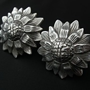 Los Castillo ~ Sterling Sunflower Earrings ~ c1940s