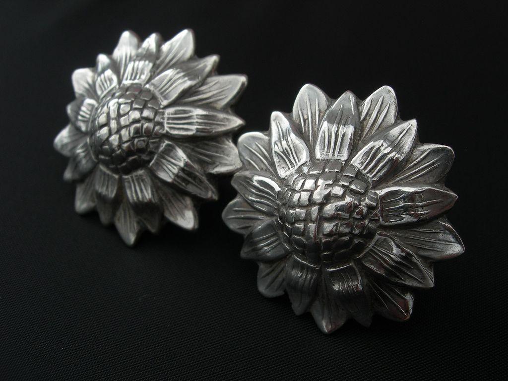 Los Castillo ~ Sterling Sunflower Earrings ~ c1940s