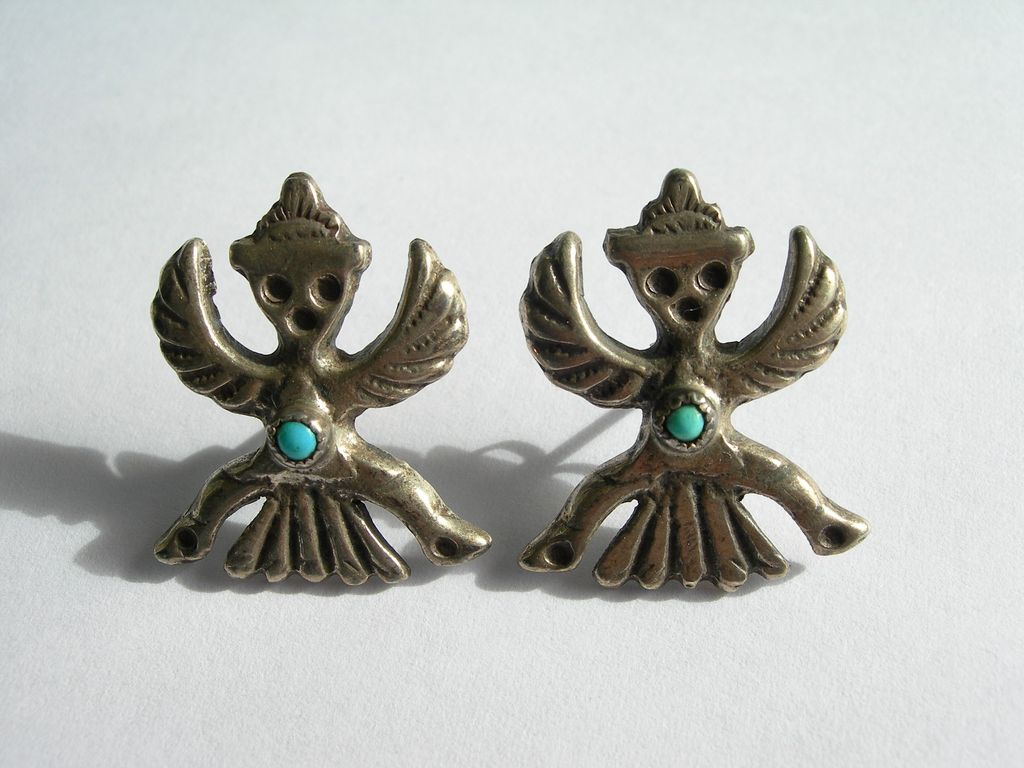 Vintage Iule Style Knife Wing Earrings ~ Sterling Silver ~ Sandcast ~ Signed by Artist