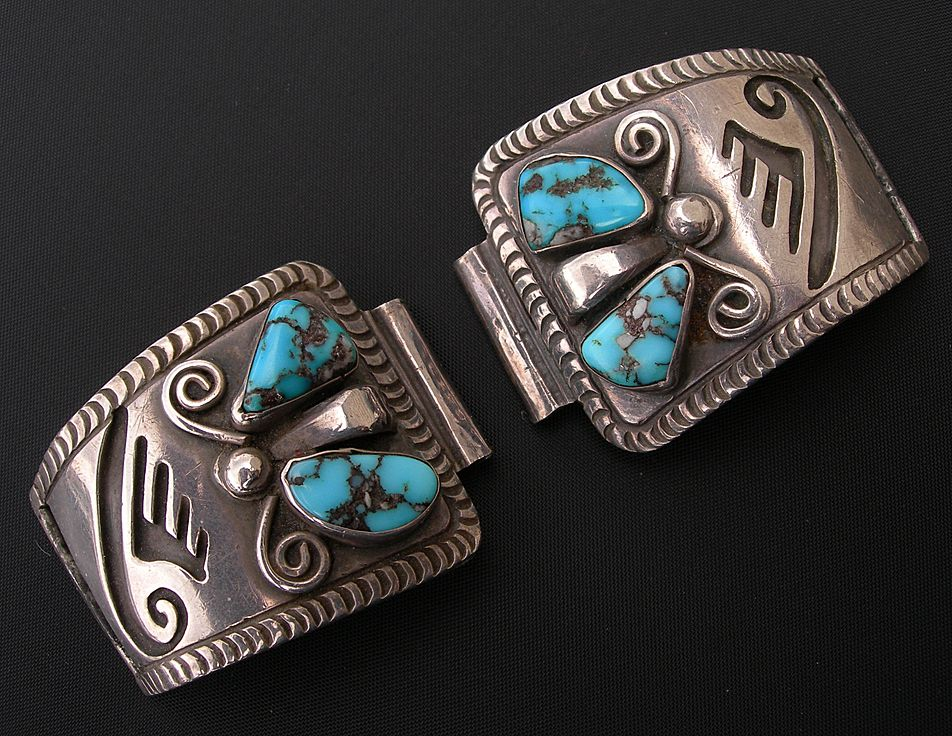 Allen Pooyama ~ Sterling Silver & Turquoise ~ Early Hopi Watch Band