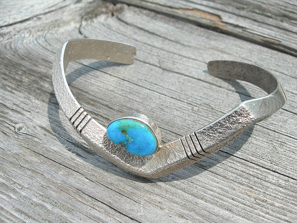 Al Nez ~ Navajo Sterling Silver & Turquoise ~ Tufa Cast Bracelet