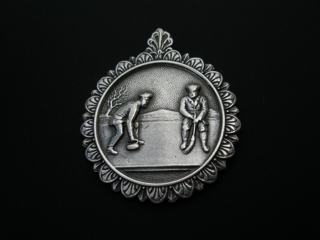 English Sports Medal ~ Curling ~ Sterling ~ 1902