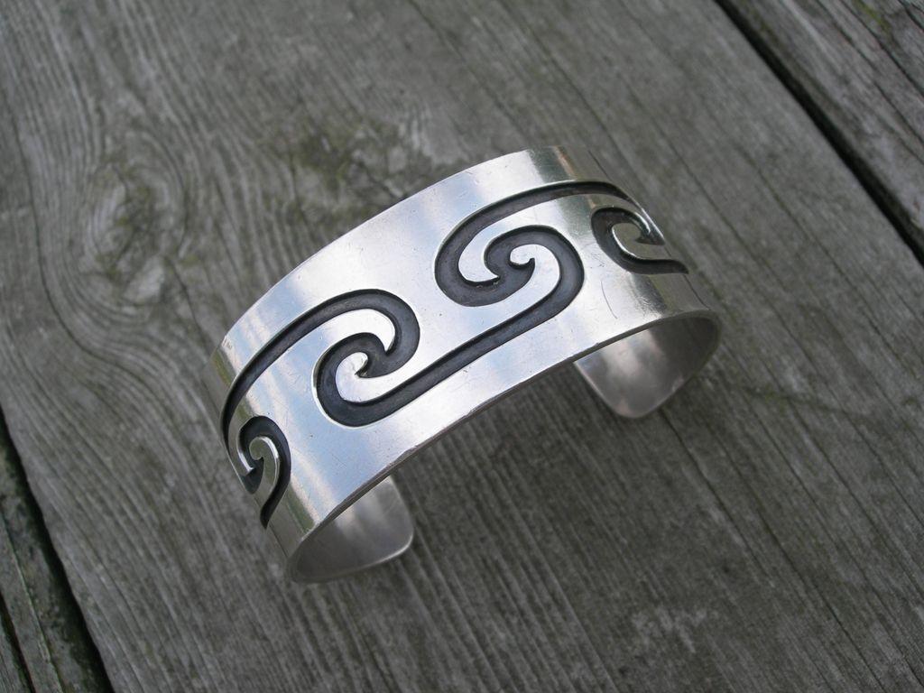 Mark Lomayestewa ~ Sterling Silver Hopi  Overlay ~ Bracelet