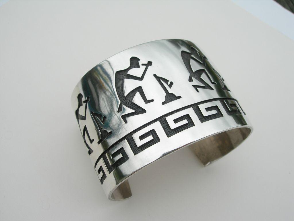 Hopi Overlay – Sterling Silver – Large Bracelet – Figural Pipe Smoker