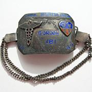 USA World War 2 – CBI Theatre Silver Enamel – Caduceus Medical Badge Bracelet – 1944