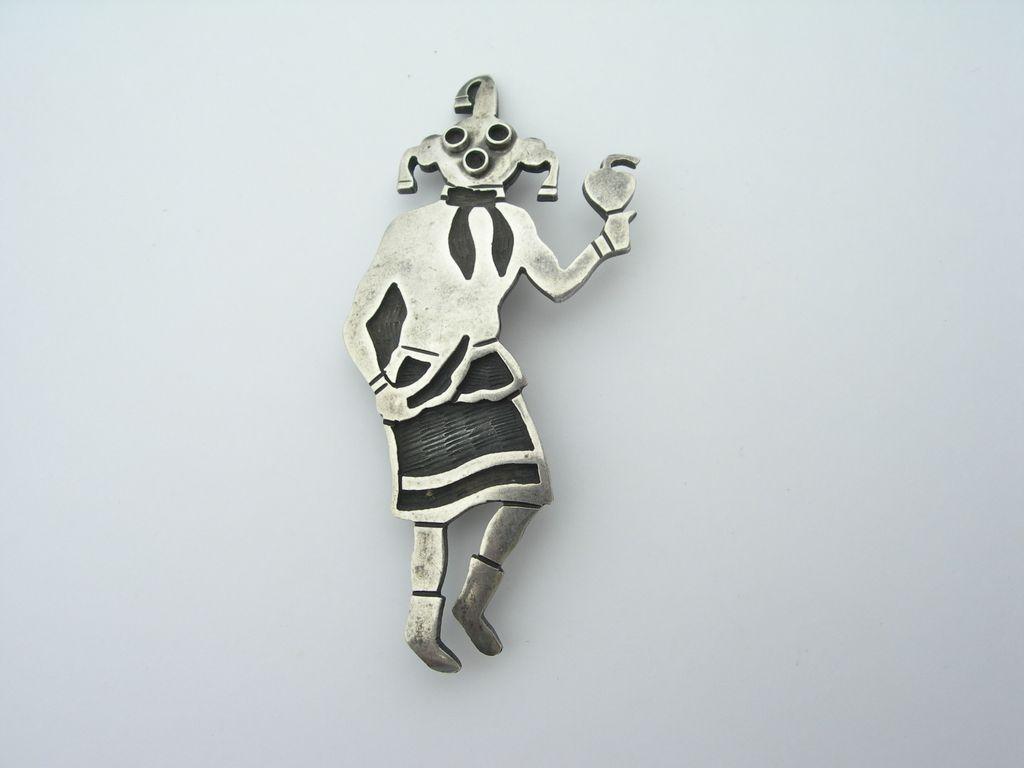 Hopi Mudhead Kachina – Sterling Silver Overlay – Pin Brooch - Signed
