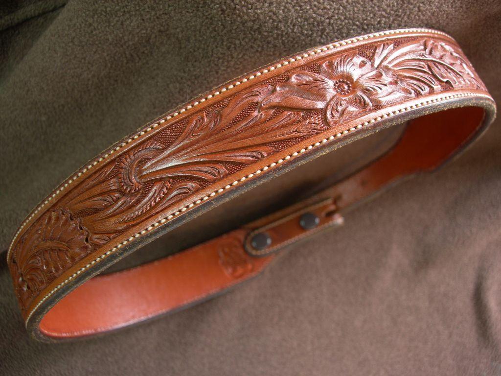 Seidels – Hand Tooled Leather Belt for Ranger Belt Buckle Set - Vintage