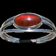 Niels Erik  N E From – Modernist Denmark Sterling – Cuff Bracelet - Amber
