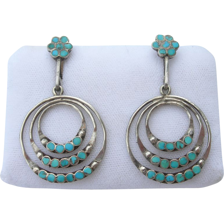 Dishta - Sterling Silver and Turquoise - Vintage Zuni - 3 Hoop Earrings