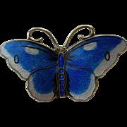 Hroar Prydz - Norway Sterling and Enamel - Butterfly Pin Brooch - Blue