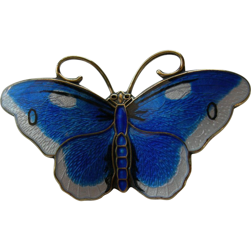 Hroar Prydz - Norway Sterling and Enamel - Butterfly Pin Brooch - Blue