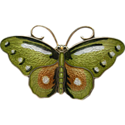 Hroar Prydz - Norway Sterling and Enamel - Butterfly Pin Brooch - Green
