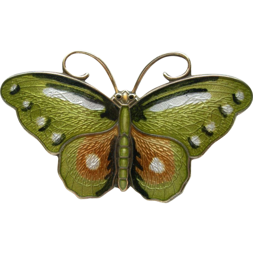 Hroar Prydz - Norway Sterling and Enamel - Butterfly Pin Brooch - Green