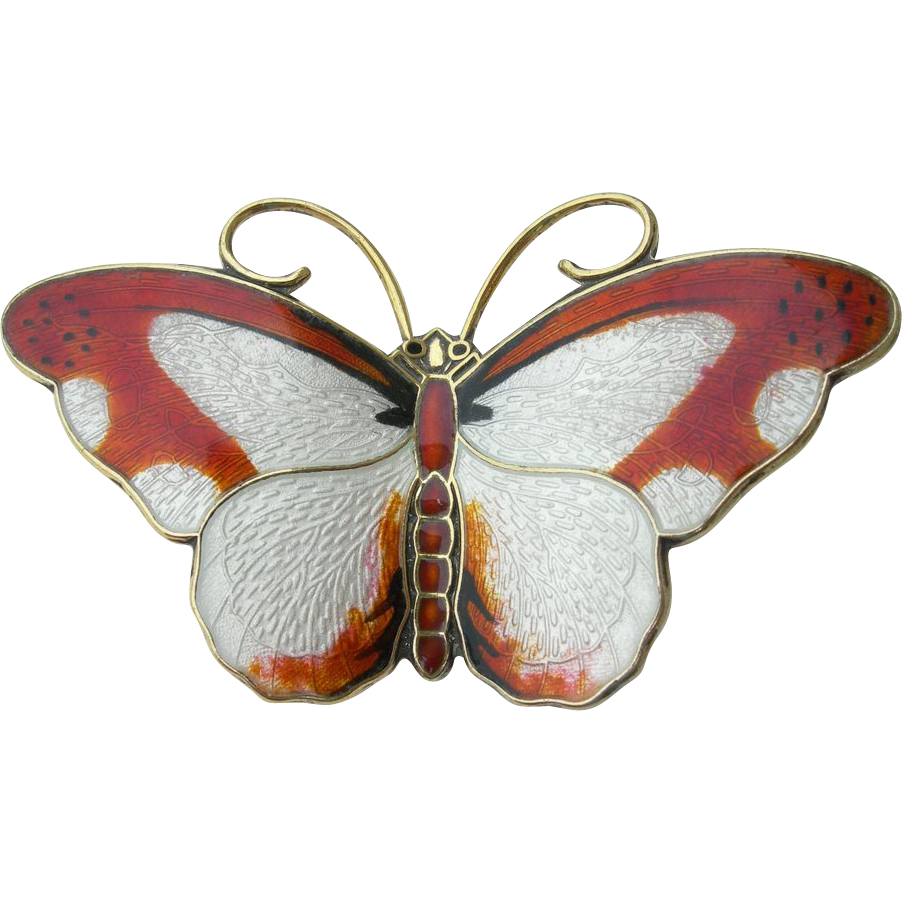 Hroar Prydz - Norway Sterling and Enamel - Butterfly Pin Brooch - Orange & White - Large