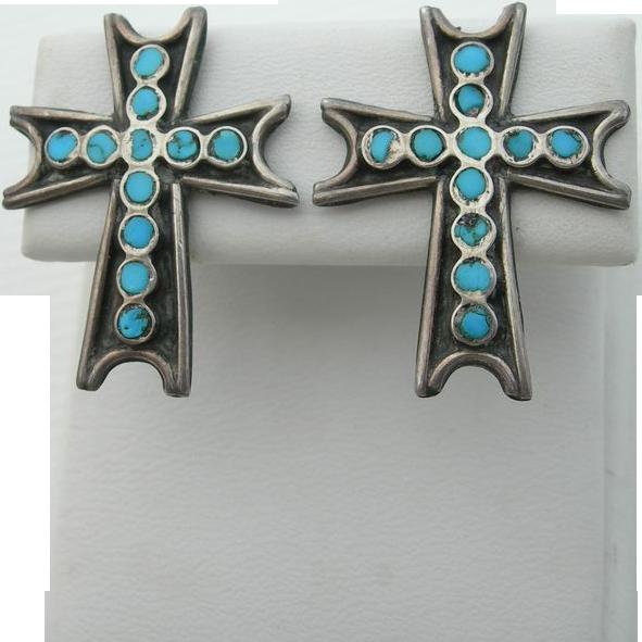 Dishta Style - Vintage Sterling & Turquoise - Cross Motif - Screw Back Earrings