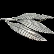 Gertrude Engel - Sterling Silver - Leaf Pin Brooch - Mid Century
