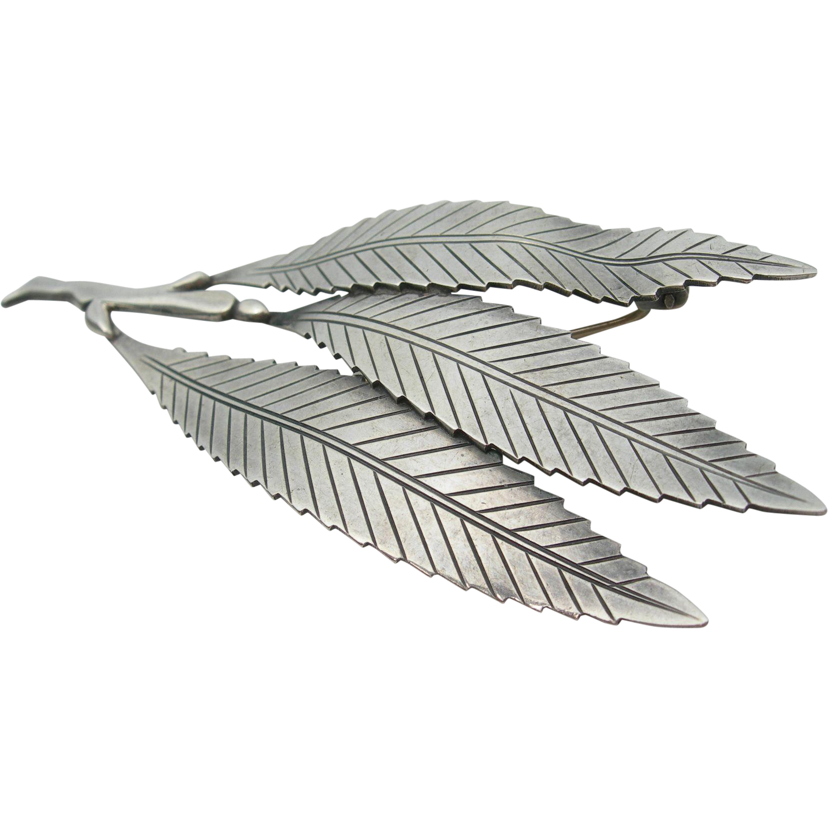 Gertrude Engel Sterling Silver Leaf Pin Brooch Mid