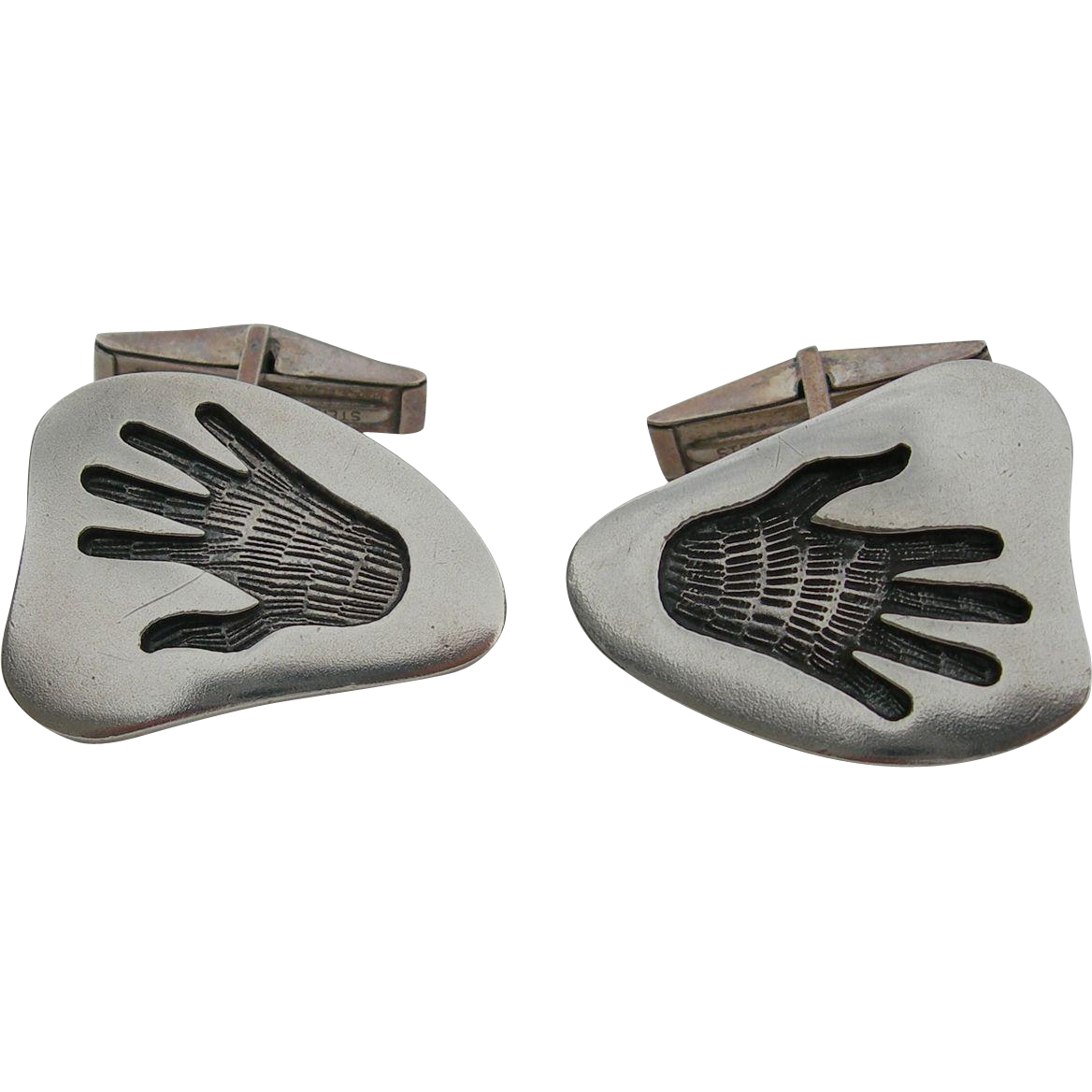 Steven Sockyma - Vintage Hopi - Sterling Silver Overlay – Cufflinks – Healing Hands