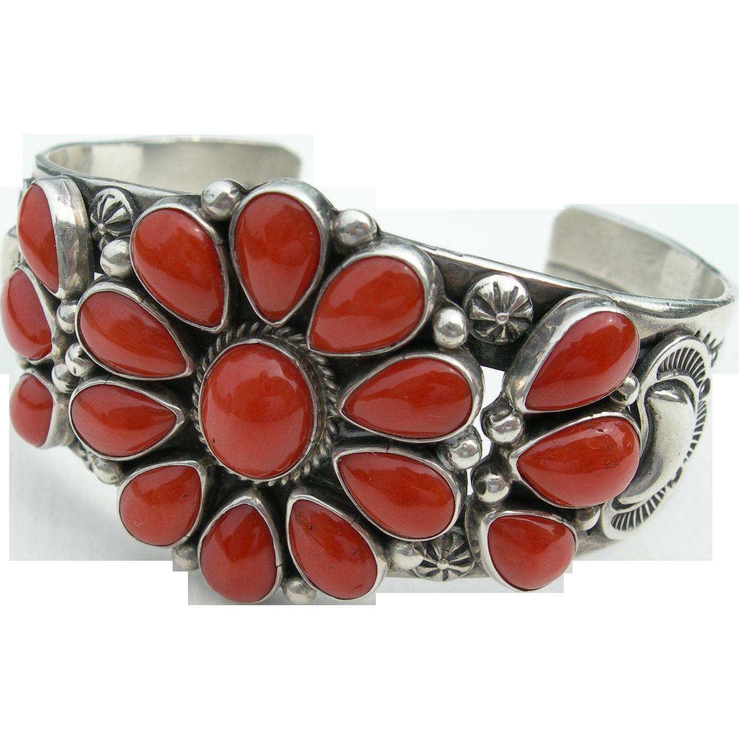 Delbert Gordon - Sterling Silver - Red Coral - Cuff Bracelet