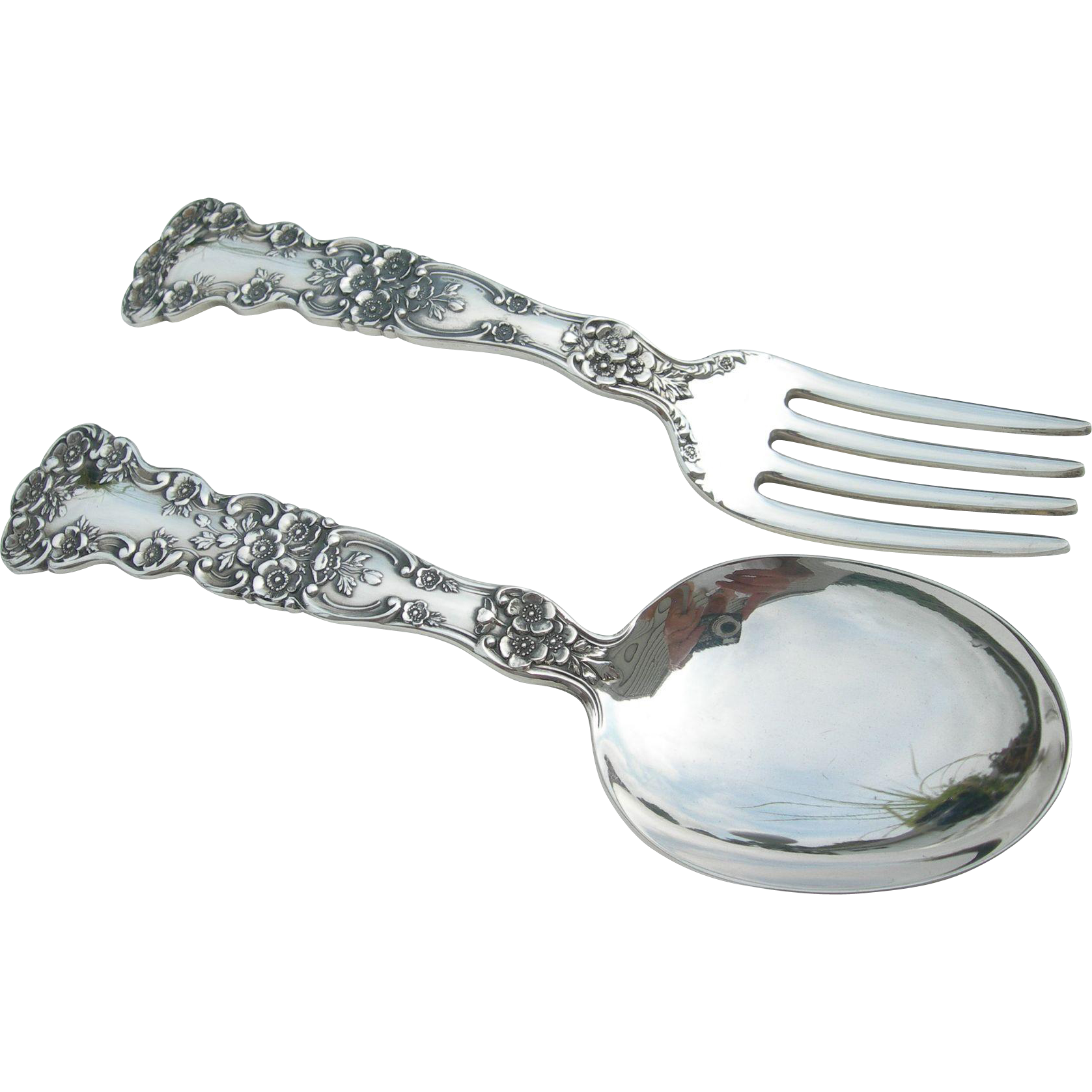 Gorham sterling baby child 39 s spoon and fork set for Sterling silver baby spoon and fork