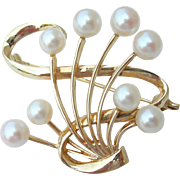 Mikimoto 8 Pearls - 14K Yellow Gold - Vintage Pin Brooch