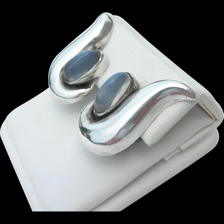Antonio Pineda - Sterling & Moonstone - Clip Earrings