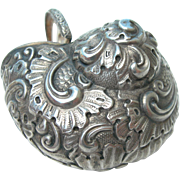 Antique Snuff Pill Box - 900 Silver - Curled Ornate Snail Shell - Late 19th Century