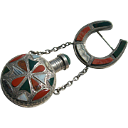 Antique Perfume Bottle Pin - Sterling Silver & Scottish Agate - Birmingham English Hallmarks