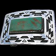 Allison Snowhawk Lee - Sterling Silver Belt Buckle - Manassa Turquoise - Rug Pattern