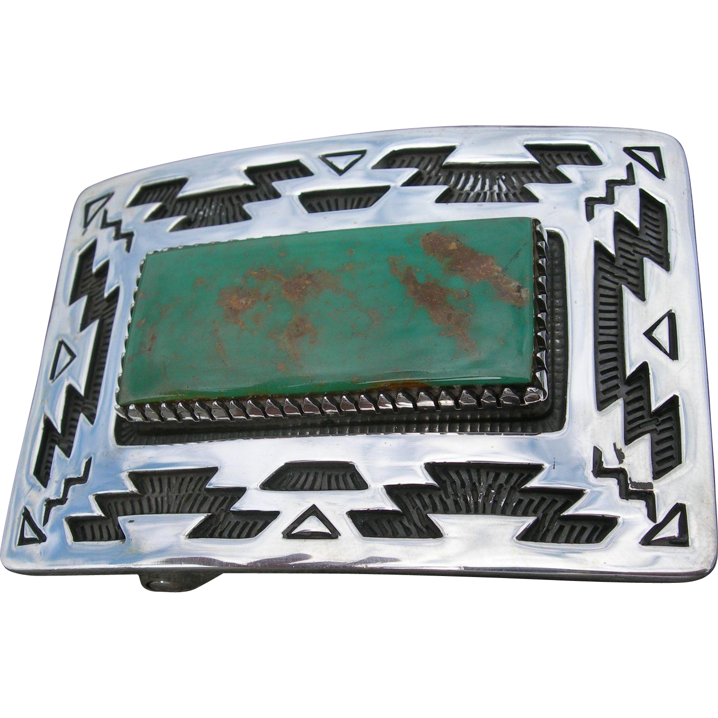 Allison Snowhawk Lee - Sterling Silver Belt Buckle - Manassa Turquoise - Rug Pattern