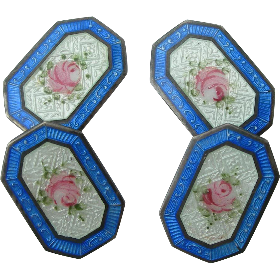 Carter, Qvarnstrom & Remington - Sterling Silver and Enamel - Double Sided Cufflinks - Floral Rose