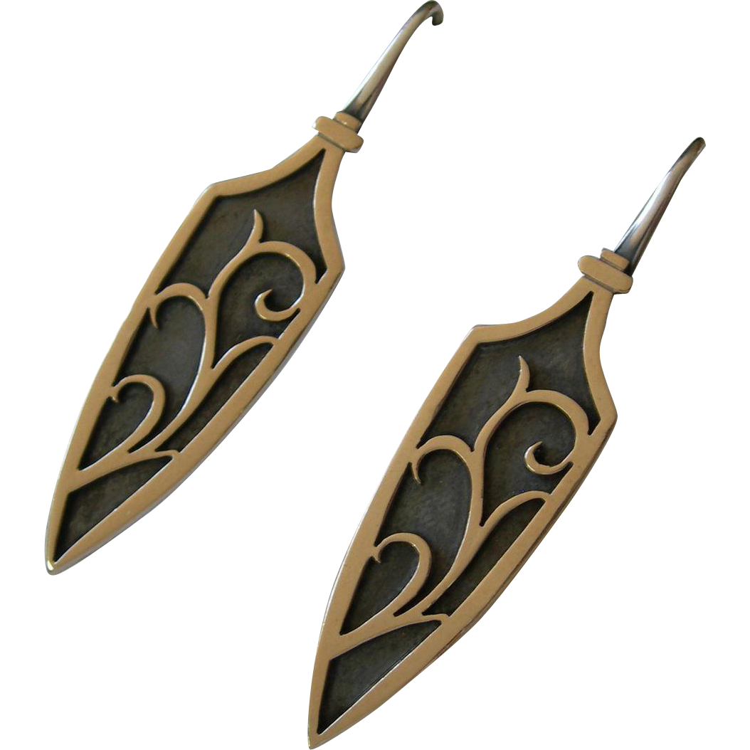 James Avery - Sterling Silver & 14K - Over Lay Blade Earrings