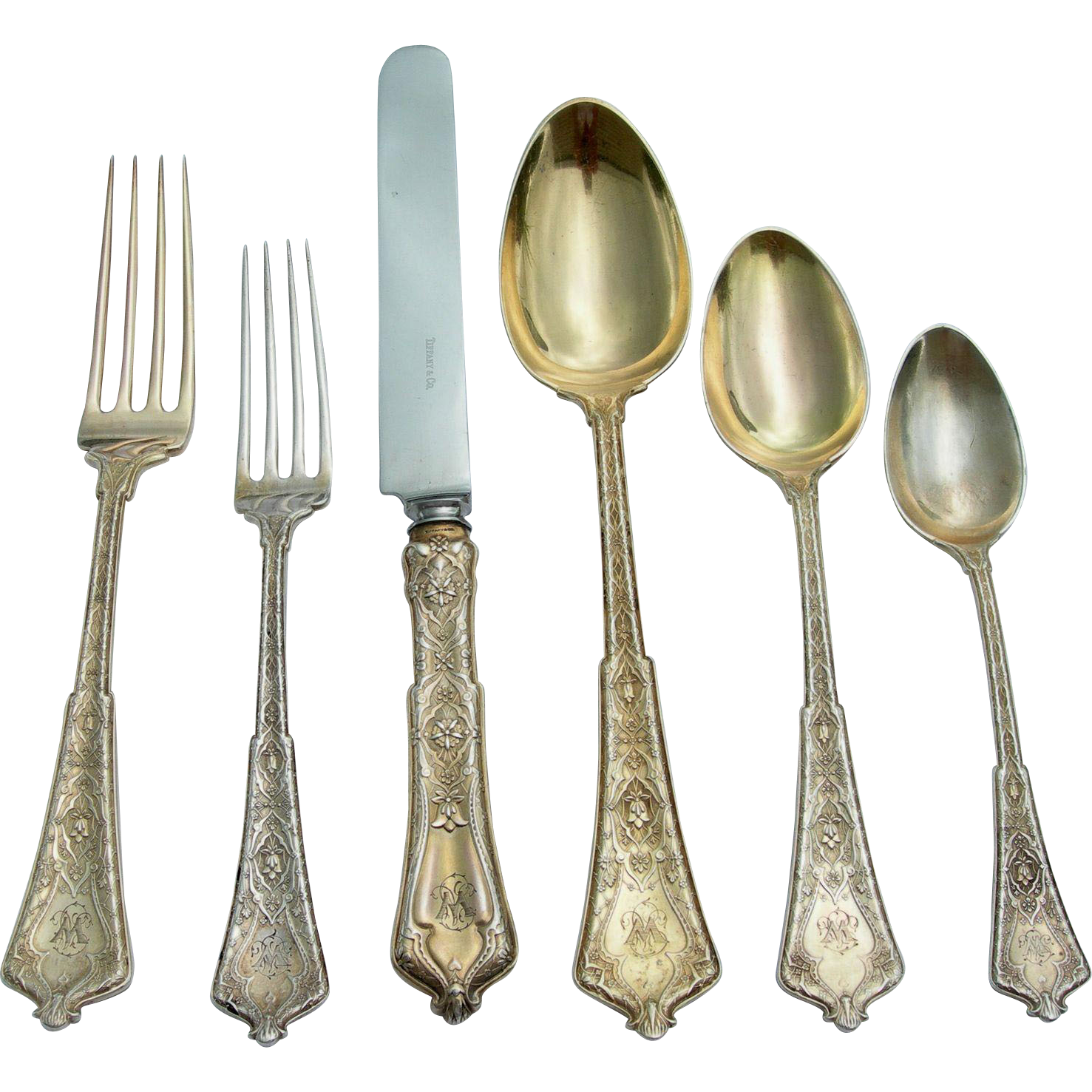 Tiffany Sterling Silver Flatware Set - Persian Pattern - 72 Pieces - Initial W