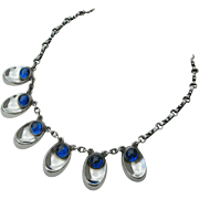 NE From - Sterling Silver - 1960s Modernist - Blue Stone Necklace