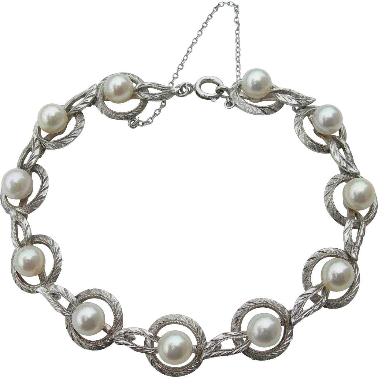 Mikimoto Pearls - Sterling Silver - Link Bracelet