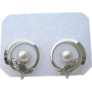 Mikimoto Pearls- Sterling Silver - Screw On Earrings