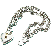 Tiffany & Co - Sterling & 18K - Padlock Heart & Key Necklace w/Pouch