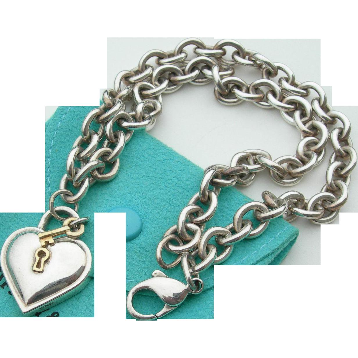 Tiffany & Co - Sterling & 18K - Padlock Heart & Key Necklace w/Pouch