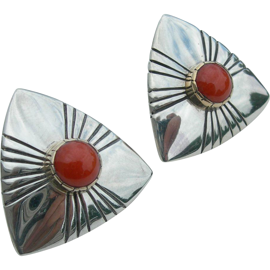 Jonathon Mike - Sterling and 14K - Coral Earrings